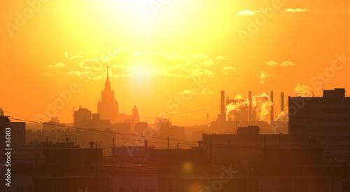 Fototapeten New York sunset