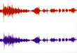 canvas print picture - colored stereo waveform