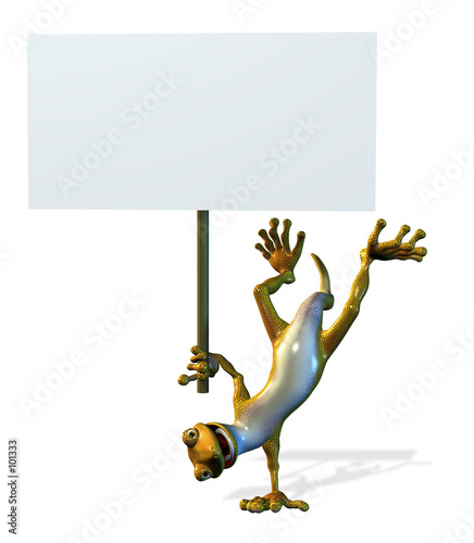 goofy gecko with blank sign Wallpaper Mural