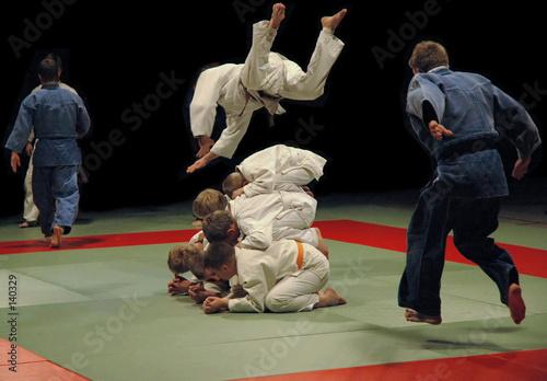 In de dag Kinderkamer judo training (jumps)