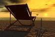 canvas print picture - deckchair on the beach