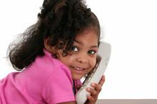 Beautiful Little Girl On Phone