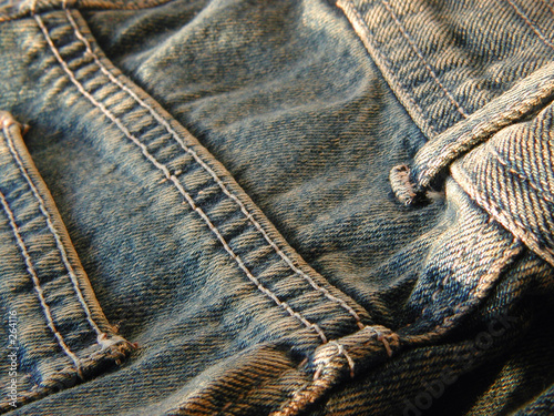 Photographie  jeans detail - back pocket and buckle loop