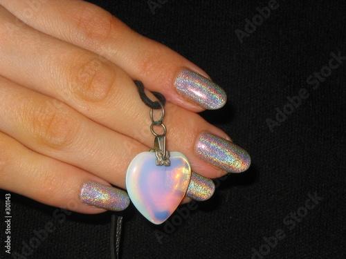 Fotografia, Obraz  moonstone heart in the hand