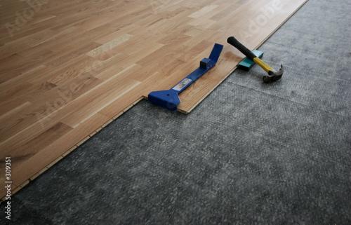 Photo  laminated wooden floor