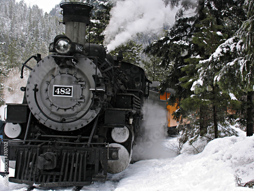 Fotografie, Obraz  steam locomotive in snow