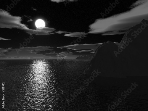Poster Pleine lune halloween moonnight on sea