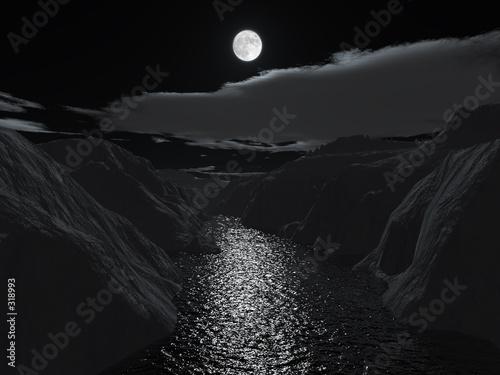 Poster Pleine lune halloween night on grand canyon