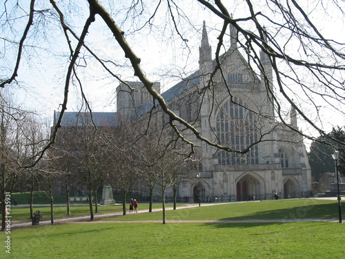winter at winchester cathedral Canvas Print