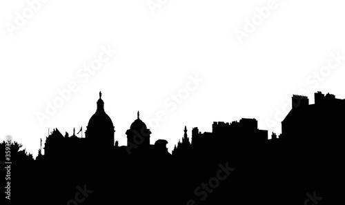 Foto op Plexiglas Groene black on white city silhouette