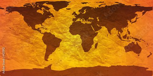 Spoed Foto op Canvas Wereldkaart crumpled world map
