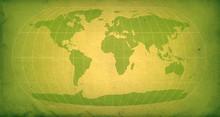 Green Vintage World Map