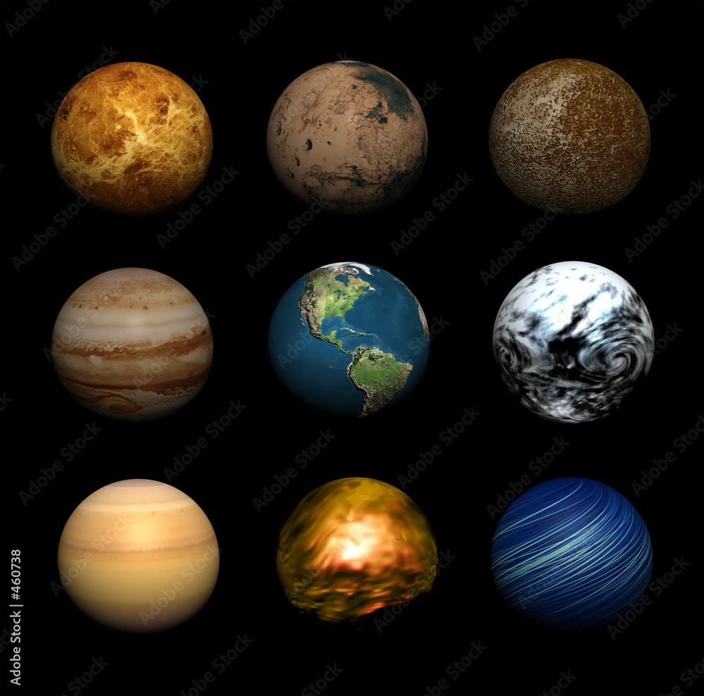 einzelne bedruckte Lamellen - planets