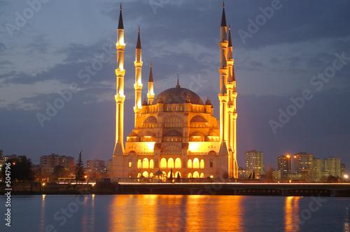 night mosque reflection Wallpaper Mural