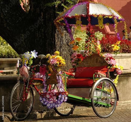 malaysia; malacca: rickshaw Billede på lærred