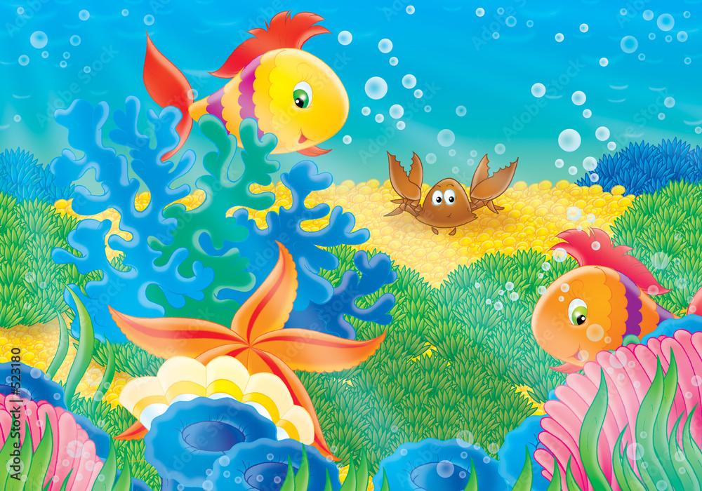 Plakat W Ramie Alu Rafa Koralowa Dno Morskie Ilustracja