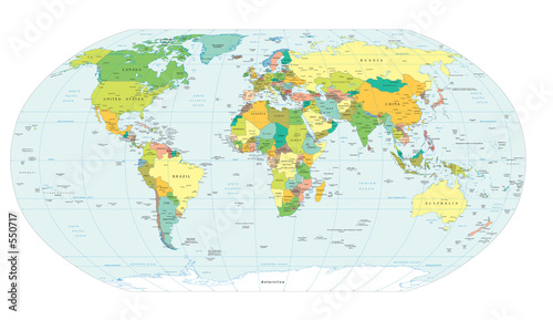 Fototapeta world map political boundaries obraz