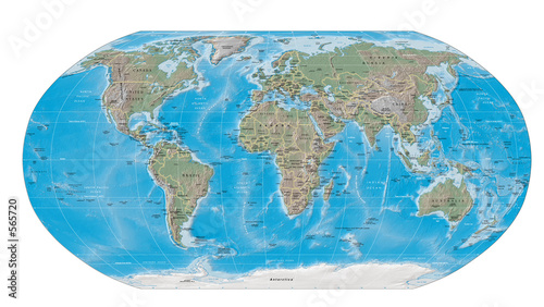 Fototapeta world map physical boundaries obraz