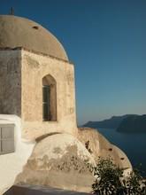 Greek Church By The Sea.  Santorini, Greece