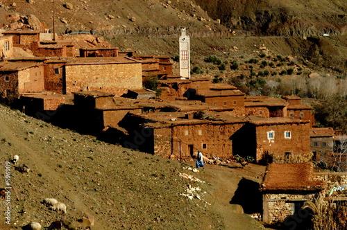 Photo un village berbbère et sa mosquée