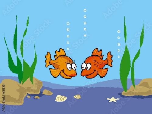 Recess Fitting Submarine goldfish in love