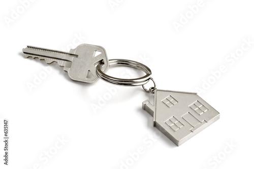Fotografie, Obraz  metal key with house key ring