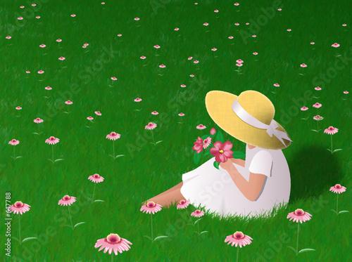 Fototapeta dla dzieci   dziewczyna-w-trawie