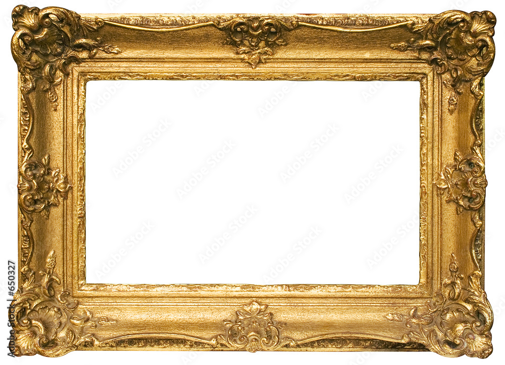 Fototapeta gold plated wooden picture frame w/ path (wide)