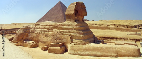 Tuinposter Egypte great sphinx, great pyramid. giza, egypt.