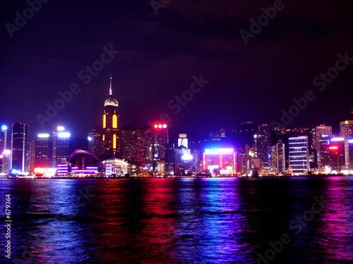 Poster hong kong at night across the bay
