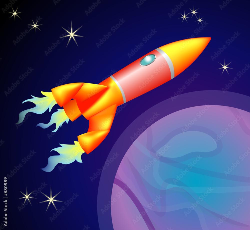 Foto-Plissee - rocket space ship