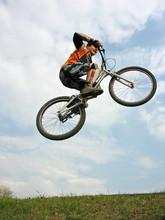 Mountain Biker Flying