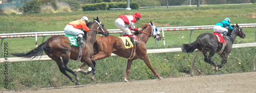 race horses in the stretch