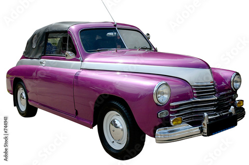 Old cars purple retro car isolated