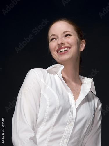 happy woman smiling Wallpaper Mural