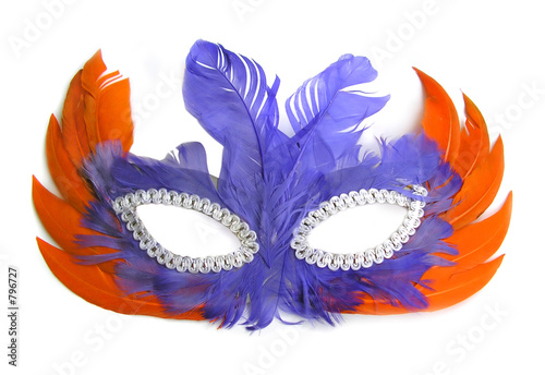 Obraz carnival mask, orange and purple feathers - fototapety do salonu