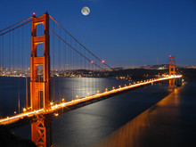 Golden Gate Bridge With Moon L...