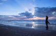 canvas print picture - beach and sunset