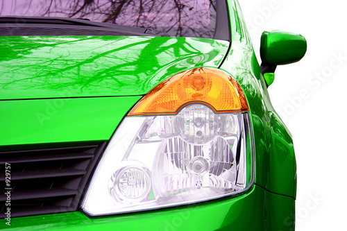 Photo green sport car - front side - big beacon