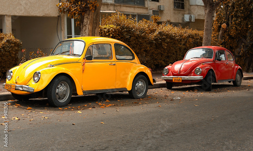 Deurstickers Oude auto s volkswagen beetle