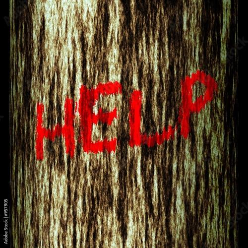 Staande foto Rood, zwart, wit tree trunk: help