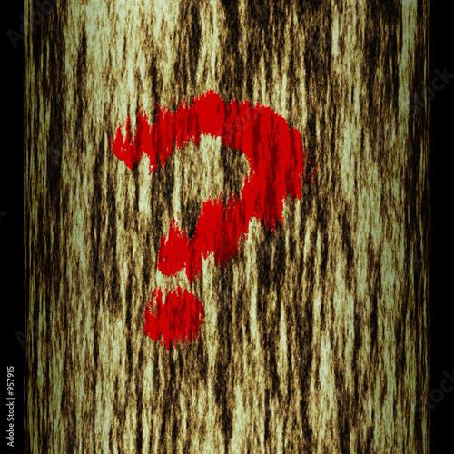 Staande foto Rood, zwart, wit tree trunk: question mark