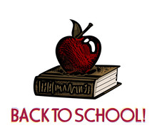 Back To School Apple And Book Woodcut