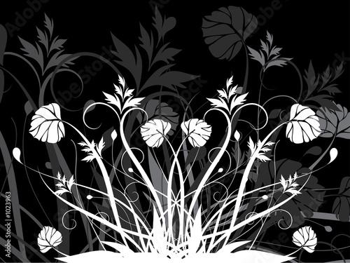 Staande foto Bloemen zwart wit floral background