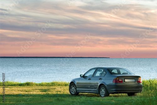 car and sea landscape Poster