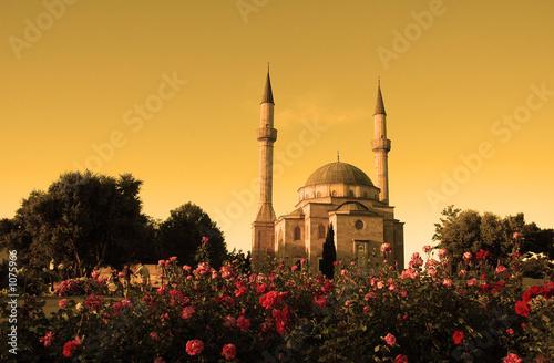 mosque with two minarets in baku, azerbaijan at su Canvas Print