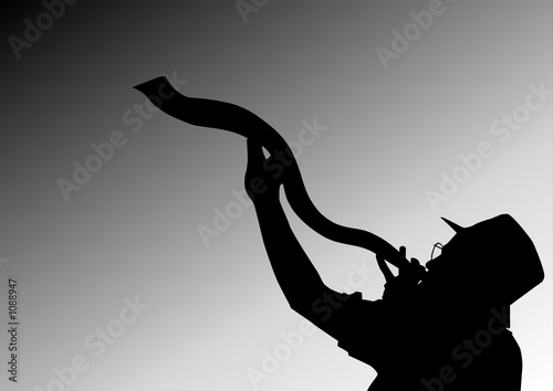 Photo blowing of the shofar