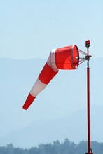 Red-white Windsock At Airport