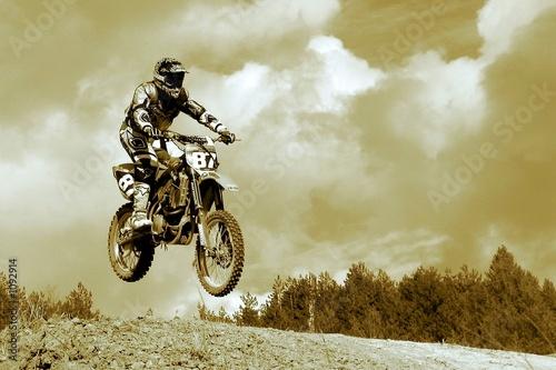 Photo  motocross in sepia