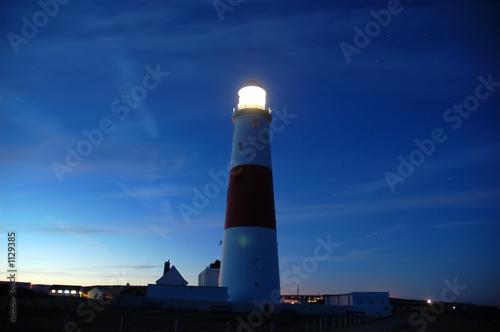 Foto-Kassettenrollo premium - leuchtturm bei nacht in aktion